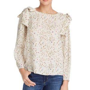 Rebecca Taylor Vivianna Silk Floral Bow Blouse Top